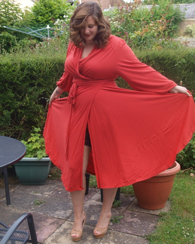 CurvyGirlThin in Red Monsoon Dress
