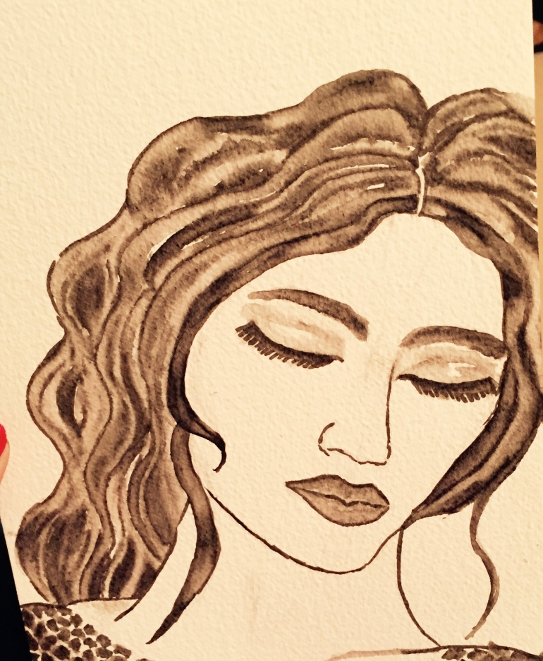 watercolour drawing of woman by Curvy Girl Thin