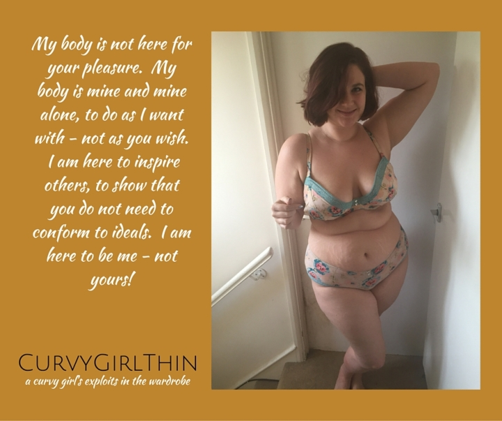 Curvy Girl Thin posing in lingerie with the caption